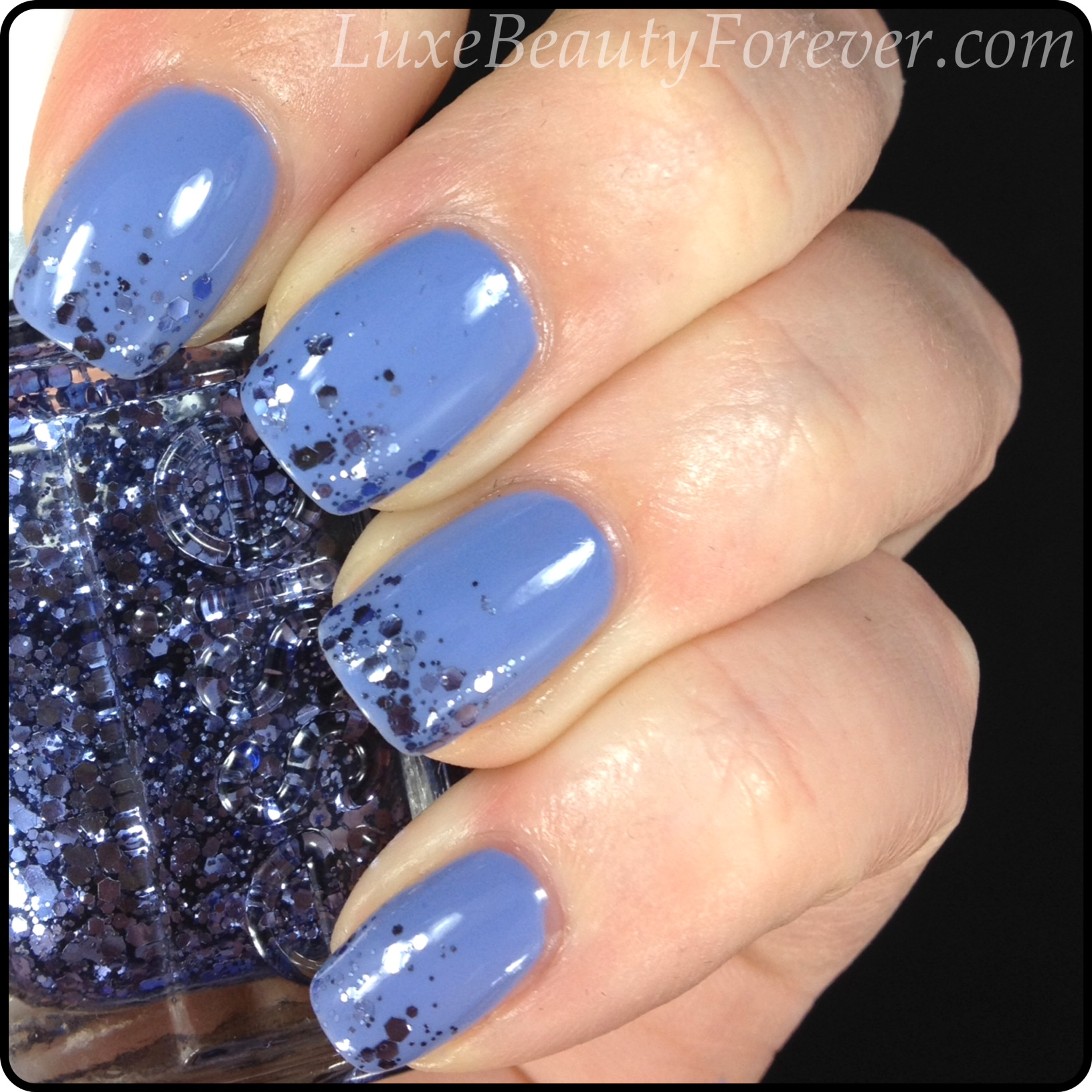 Lovely Periwinkle Nails with Glitter Tips | Luxe Beauty Forever