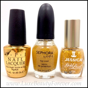 L-R: OPI 'The Man With The Golden Gun', Sephora by OPI 'It's Real 18k Gold Topcoat', & Jessica 'Gold Leaf'
