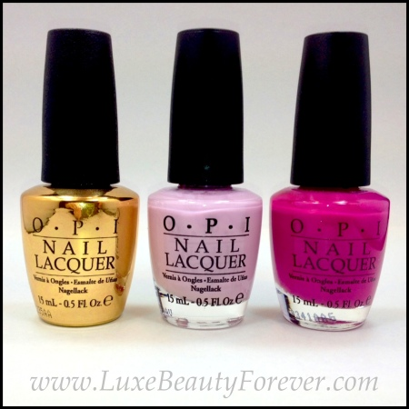 L-R: OPI 'Man With The Golden Gun', OPI 'Panda-Monium Pink', OPI 'Dim Sum Plum'