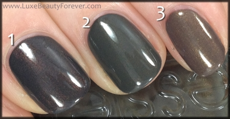 1) Pam & Kin 'Demons' 2) Essie 'Armed & Ready' 3) Dior 'Equis'